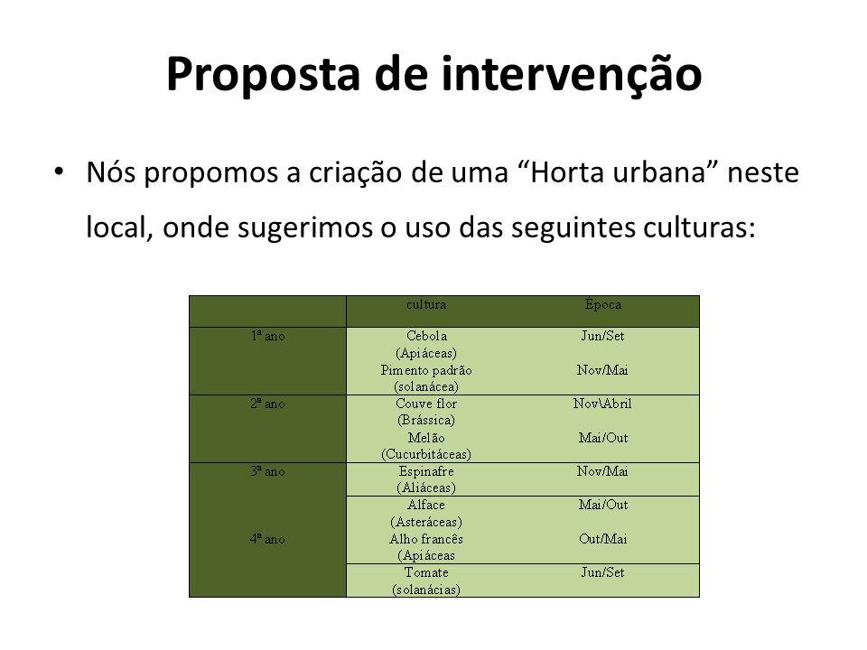 Proposta de intervenção Nós propomos a criação de uma Horta urbana neste local, onde sugerimos o uso das seguintes culturas: