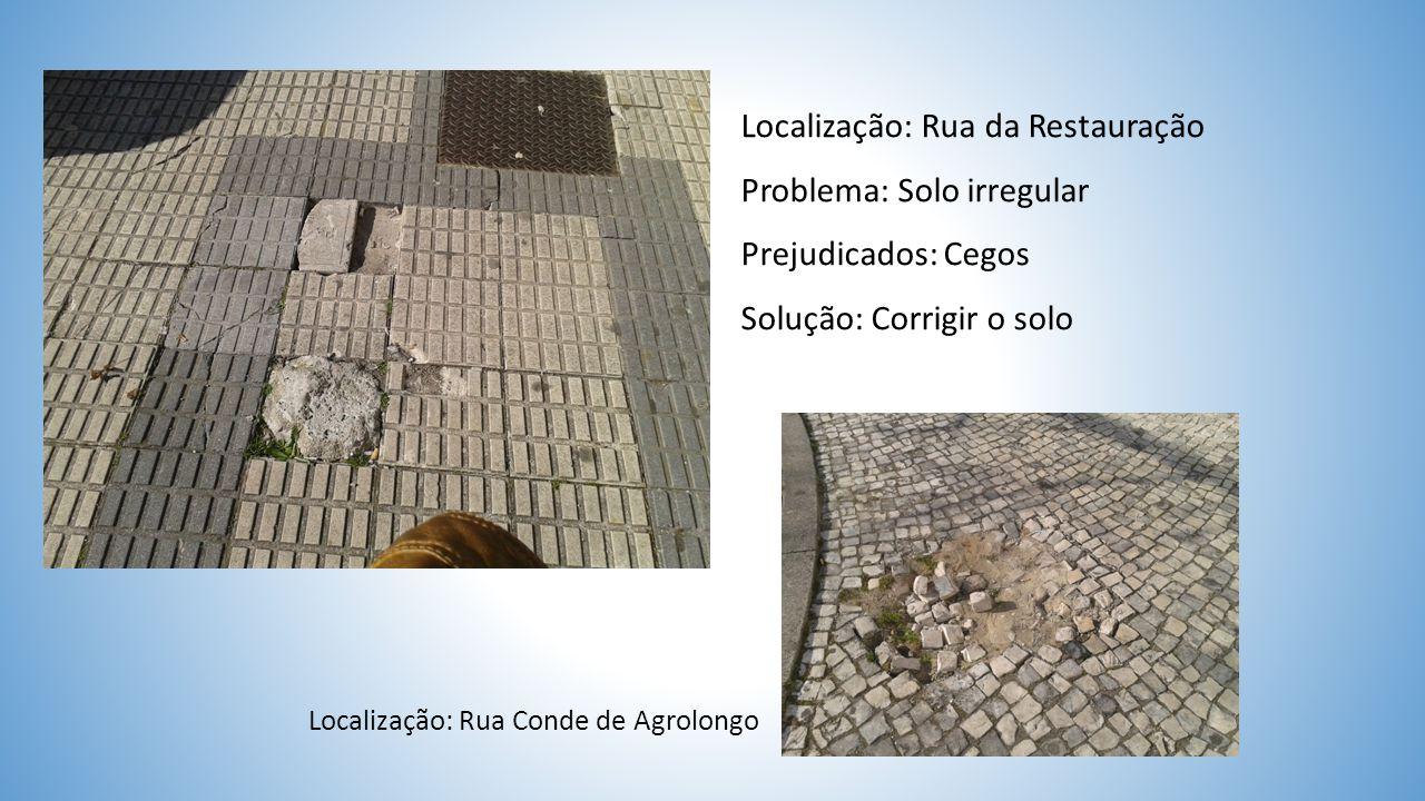 Localização: Avenida Central Problema: Largura reduzida do pavimento táctil Prejudicados: Cegos Solução: Alargamento do pavimento táctil