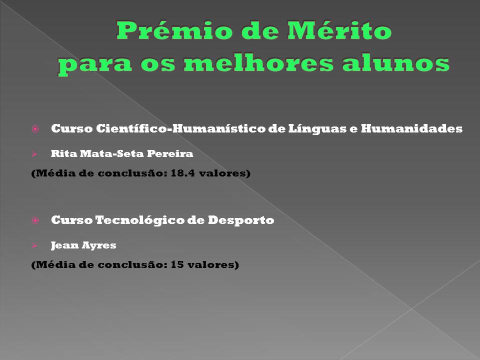  Curso Científico-Humanístico de Línguas e Humanidades  Rita Mata-Seta Pereira (Média de conclusão: 18.4 valores)  Curso Tecnológico de Desporto  Jean Ayres (Média de conclusão: 15 valores)