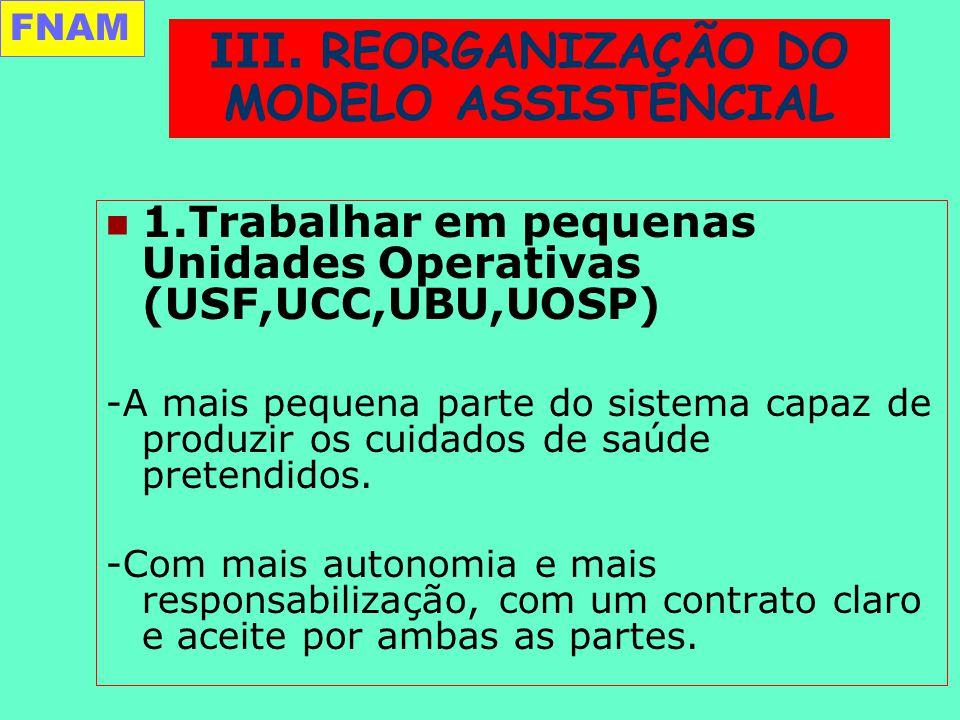 1.Trabalhar em pequenas Unidades Operativas (USF,UCC,UBU,UOSP) -A mais pequena parte do sistema capaz de produzir os cuidados de saúde pretendidos.