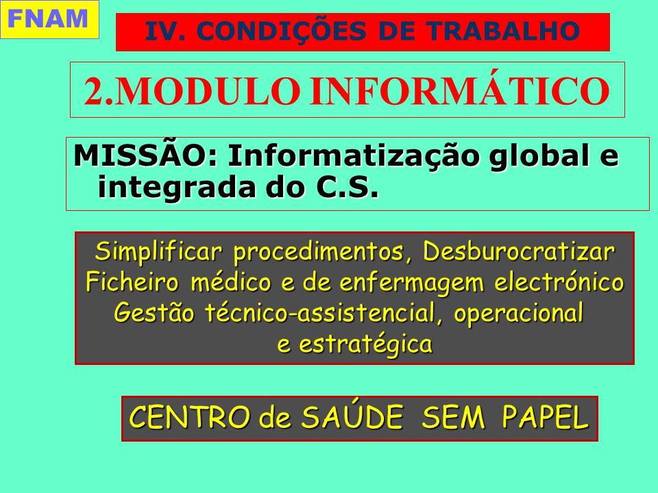 2.MODULO INFORMÁTICO MISSÃO: Informatização global e integrada do C.S.
