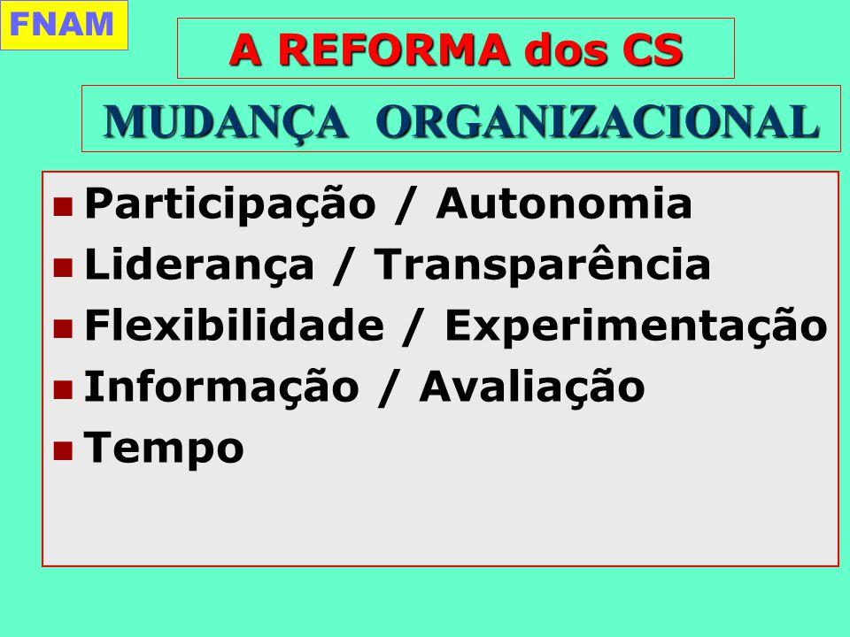 Participação / Autonomia Liderança / Transparência Flexibilidade / Experimentação Informação / Avaliação Tempo MUDANÇA ORGANIZACIONAL FNAM A REFORMA dos CS