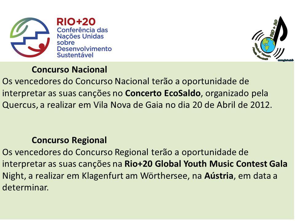 Concurso Nacional Os vencedores do Concurso Nacional terão a oportunidade de interpretar as suas canções no Concerto EcoSaldo, organizado pela Quercus, a realizar em Vila Nova de Gaia no dia 20 de Abril de 2012.