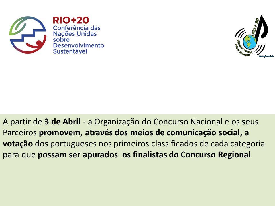 A partir de 3 de Abril - a Organização do Concurso Nacional e os seus Parceiros promovem, através dos meios de comunicação social, a votação dos portugueses nos primeiros classificados de cada categoria para que possam ser apurados os finalistas do Concurso Regional
