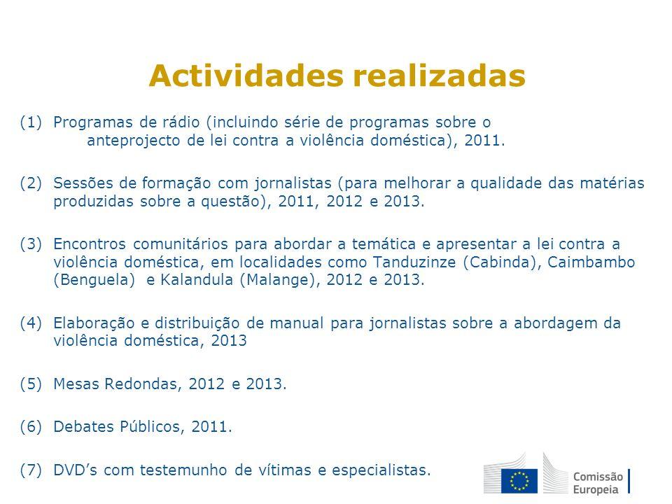 Actividades realizadas (1)Programas de rádio (incluindo série de programas sobre o anteprojecto de lei contra a violência doméstica), 2011. (2)Sessões
