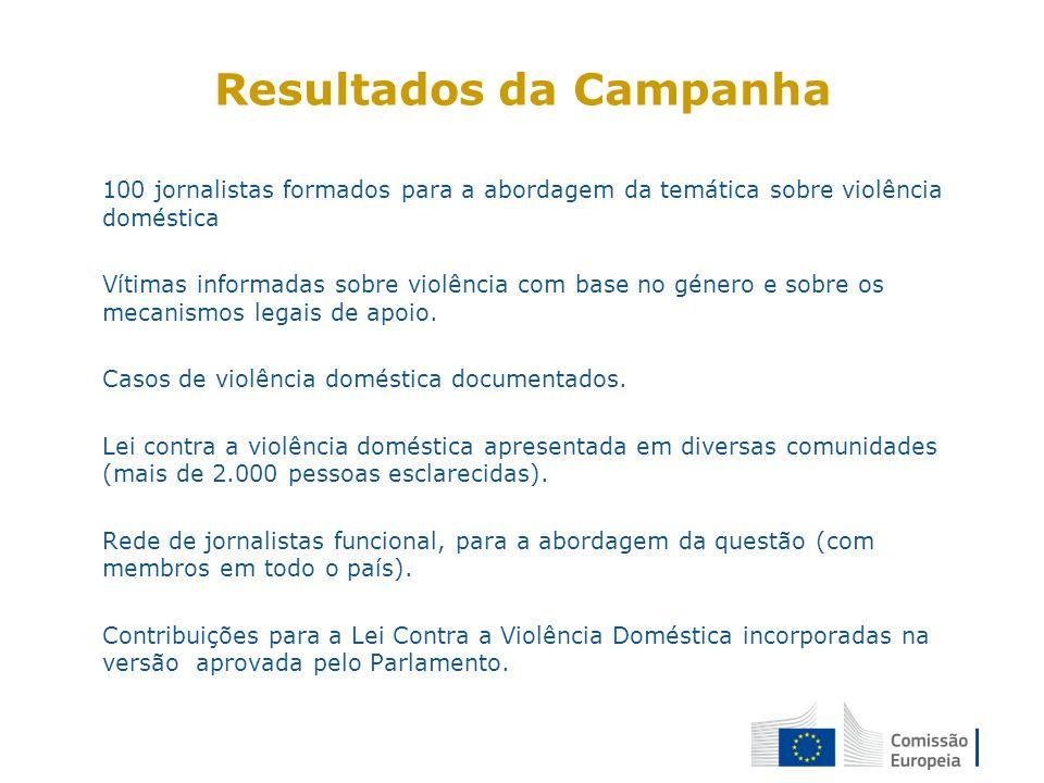 Resultados da Campanha 100 jornalistas formados para a abordagem da temática sobre violência doméstica Vítimas informadas sobre violência com base no género e sobre os mecanismos legais de apoio.