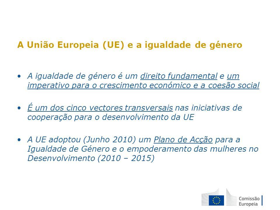 A UE e a violência de género: documentos de política e operacionais Violência de género é uma das componentes da Política para a Igualdade de Género Orientações da UE sobre a violência contra as mulheres e meninas e todas as formas de discriminação (2008) Plano de acção da UE para o Género 2010-2015 Objectivo 8: Reforçar o apoio aos países parceiros no seu combate contra a violência baseada no género e todas as formas de discriminação contra as mulheres e as meninas