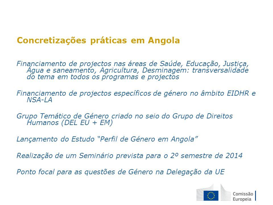 Concretizações práticas em Angola: exemplos de projectos Programa de Apoio aos Actores não Estatais (PAANE II) - FED Fórum das mulheres Jornalistas para a Igualdade de Género: Campanha desafiando o silencio (PAANE I) Drama for dialogue (NSA-LA)