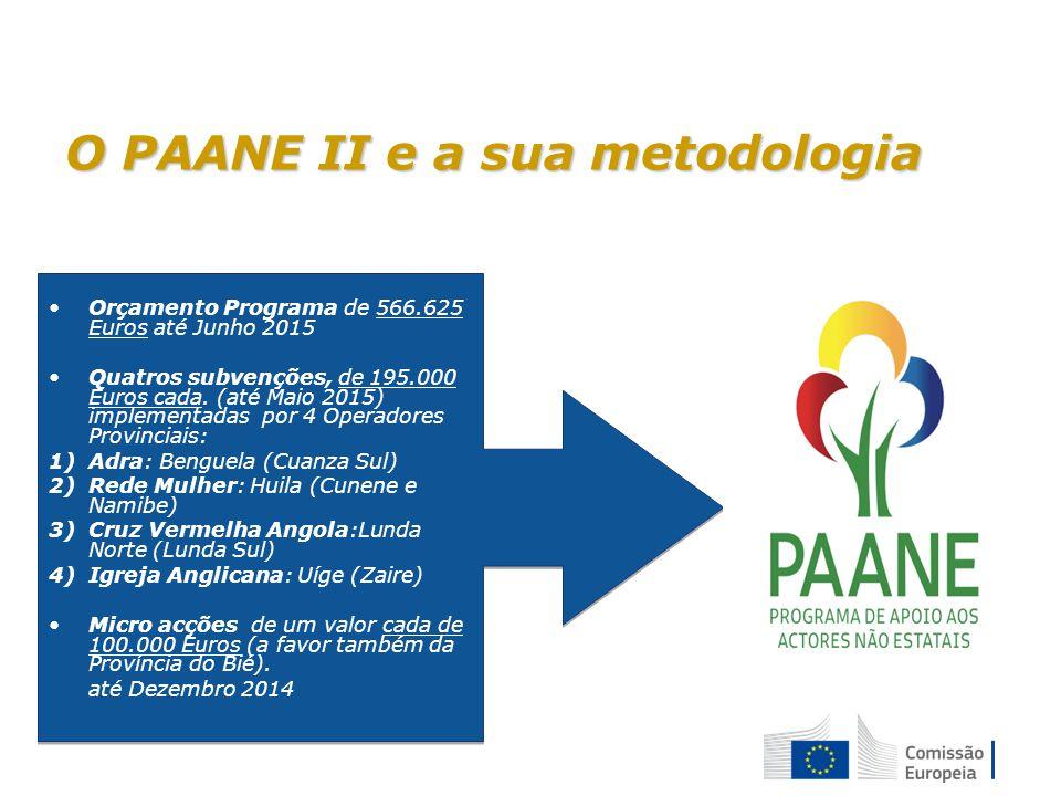 O PAANE II e a sua metodologia Orçamento Programa de 566.625 Euros até Junho 2015 Quatros subvenções, de 195.000 Euros cada.