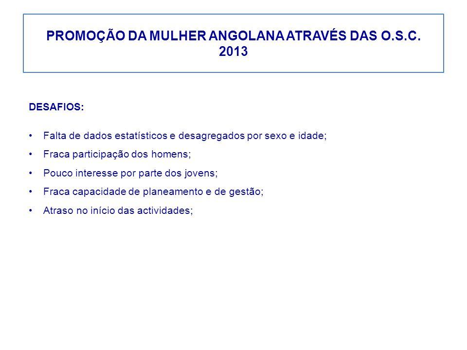 PROMOÇÃO DA MULHER ANGOLANA ATRAVÉS DAS O.S.C. 2013 DESAFIOS: Falta de dados estatísticos e desagregados por sexo e idade; Fraca participação dos home