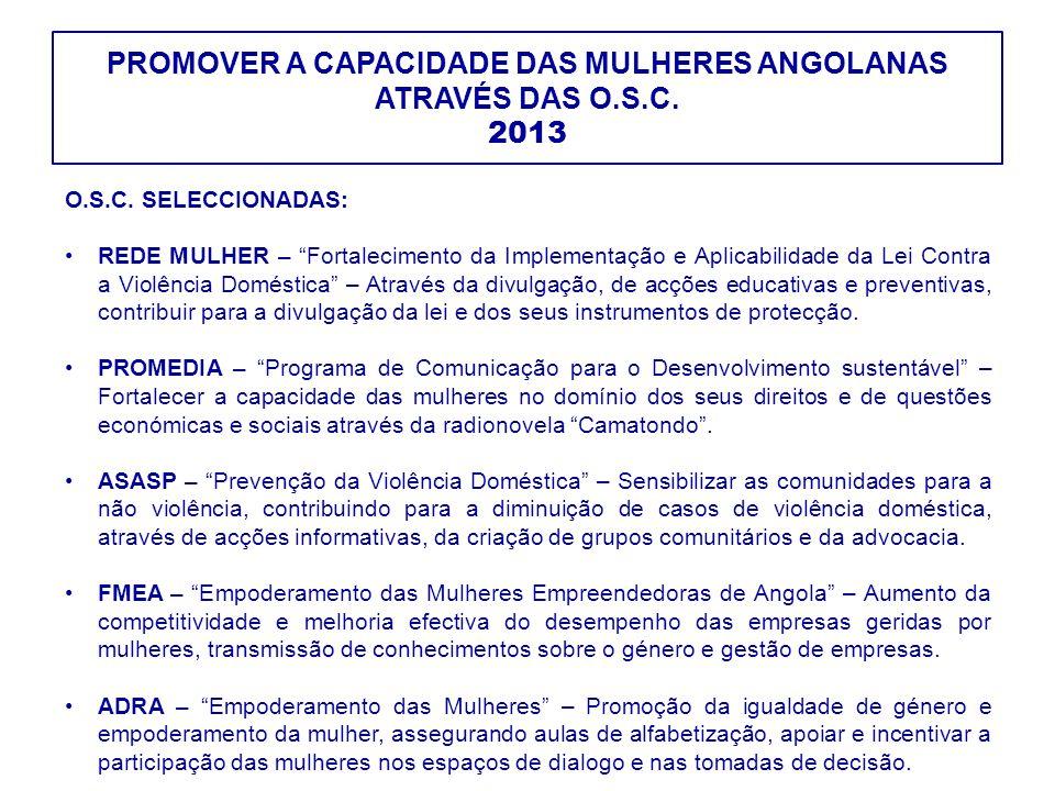 """PROMOVER A CAPACIDADE DAS MULHERES ANGOLANAS ATRAVÉS DAS O.S.C. 2013 O.S.C. SELECCIONADAS: REDE MULHER – """"Fortalecimento da Implementação e Aplicabili"""