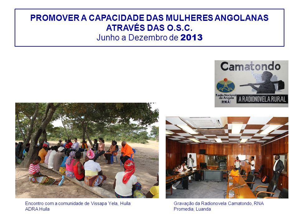 PROMOVER A CAPACIDADE DAS MULHERES ANGOLANAS ATRAVÉS DAS O.S.C. Junho a Dezembro de 2013 Gravação da Radionovela Camatondo, RNA Promedia, Luanda Encon