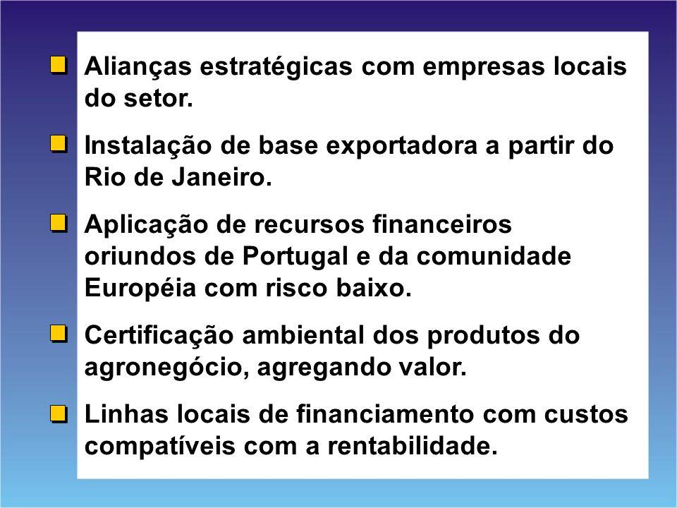 Alianças estratégicas com empresas locais do setor.