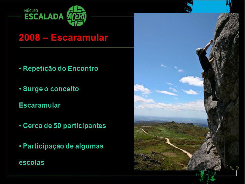 2008 – Escaramular Repetição do Encontro Surge o conceito Escaramular Cerca de 50 participantes Participação de algumas escolas