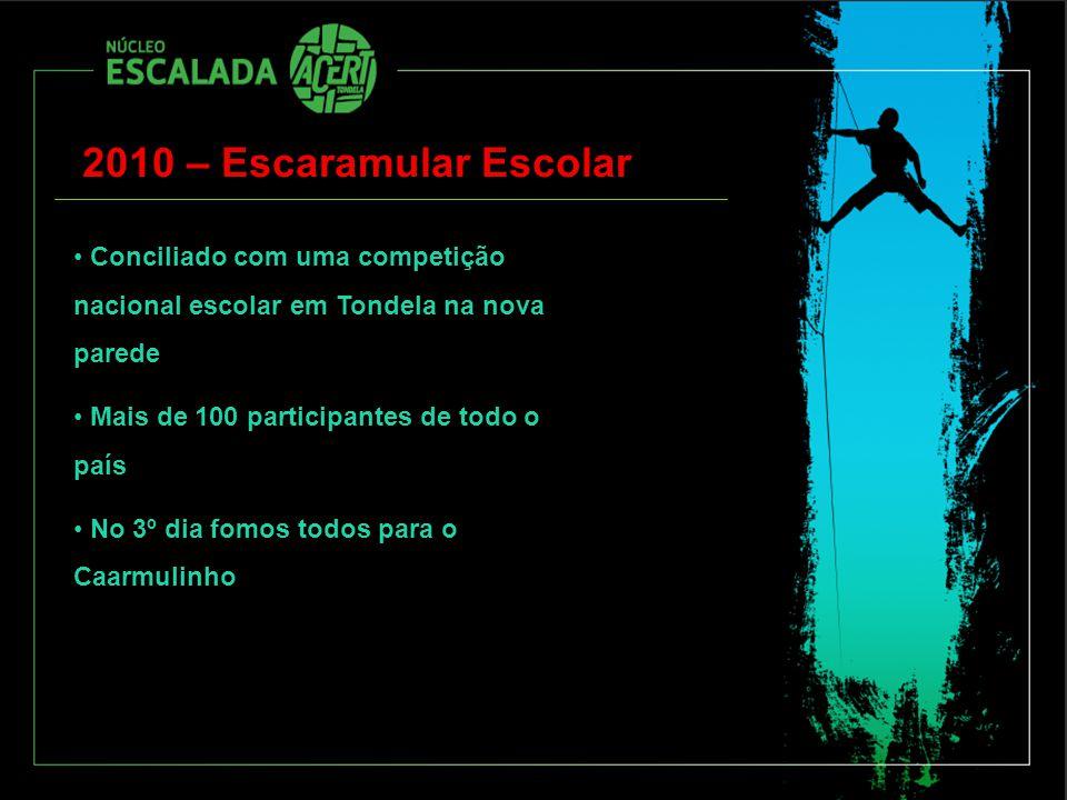 2010 – Escaramular Escolar Conciliado com uma competição nacional escolar em Tondela na nova parede Mais de 100 participantes de todo o país No 3º dia