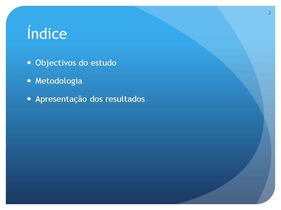 Índice Objectivos do estudo Metodologia Apresentação dos resultados 2