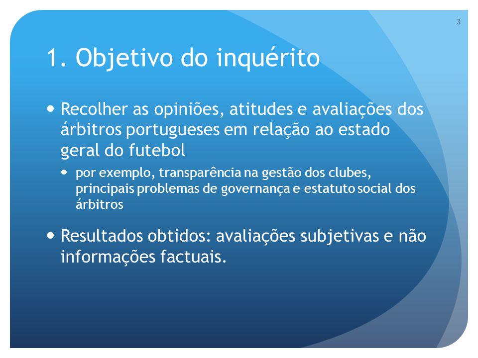 1. Objetivo do inquérito Recolher as opiniões, atitudes e avaliações dos árbitros portugueses em relação ao estado geral do futebol por exemplo, trans