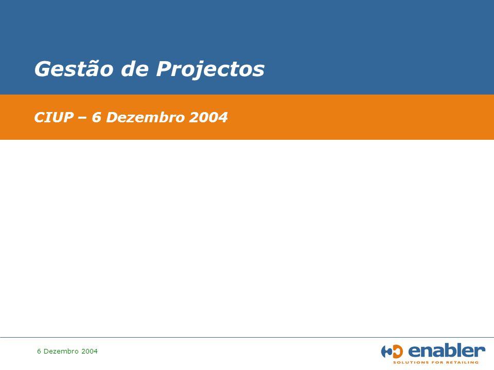6 Dezembro 2004 12 Gestão de Projectos AVALIAR MODIFICAÇÕES PROJECTO Inputs: Documento de Definição Inicial (proposta aprovada) Pedidos de Modificações Mecanismos de Comunicação Acções: Análise de Impacto nas várias componentes do Projecto Quantificação de Esforço, Duração e $ Negociações---Adenda/Nova proposta PQ-GD02 Gestão de Âmbito