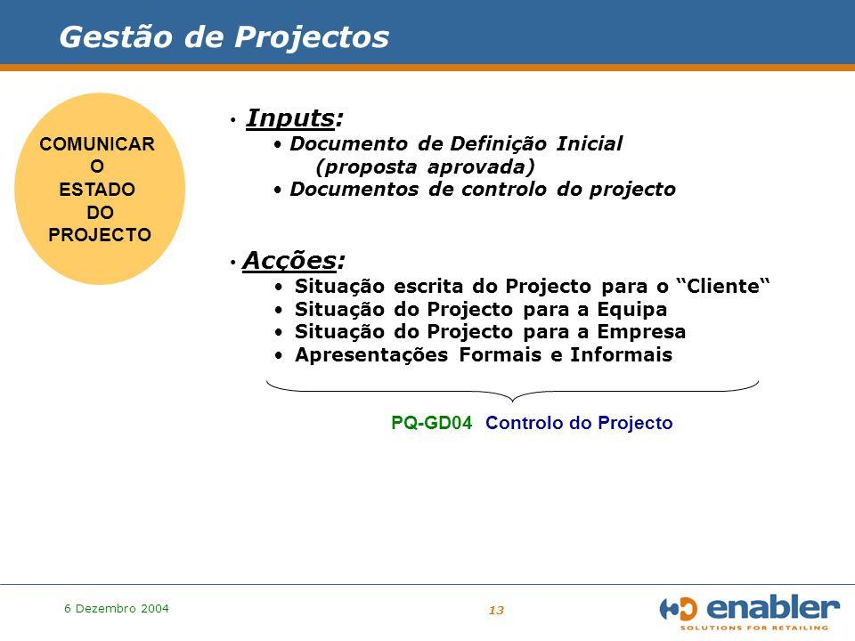 6 Dezembro 2004 13 PROJECTO Gestão de Projectos COMUNICAR O ESTADO DO PROJECTO Inputs: Documento de Definição Inicial (proposta aprovada) Documentos de controlo do projecto Acções: Situação escrita do Projecto para o Cliente Situação do Projecto para a Equipa Situação do Projecto para a Empresa Apresentações Formais e Informais PQ-GD04 Controlo do Projecto