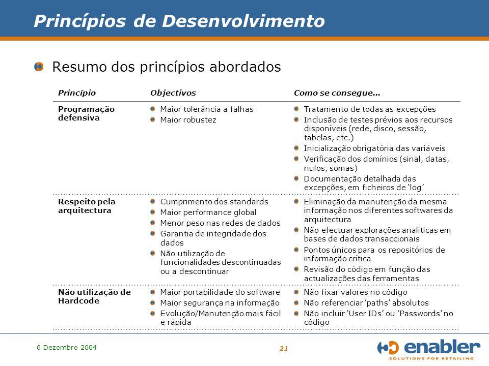 6 Dezembro 2004 21 Princípios de Desenvolvimento Resumo dos princípios abordados PrincípioObjectivosComo se consegue...