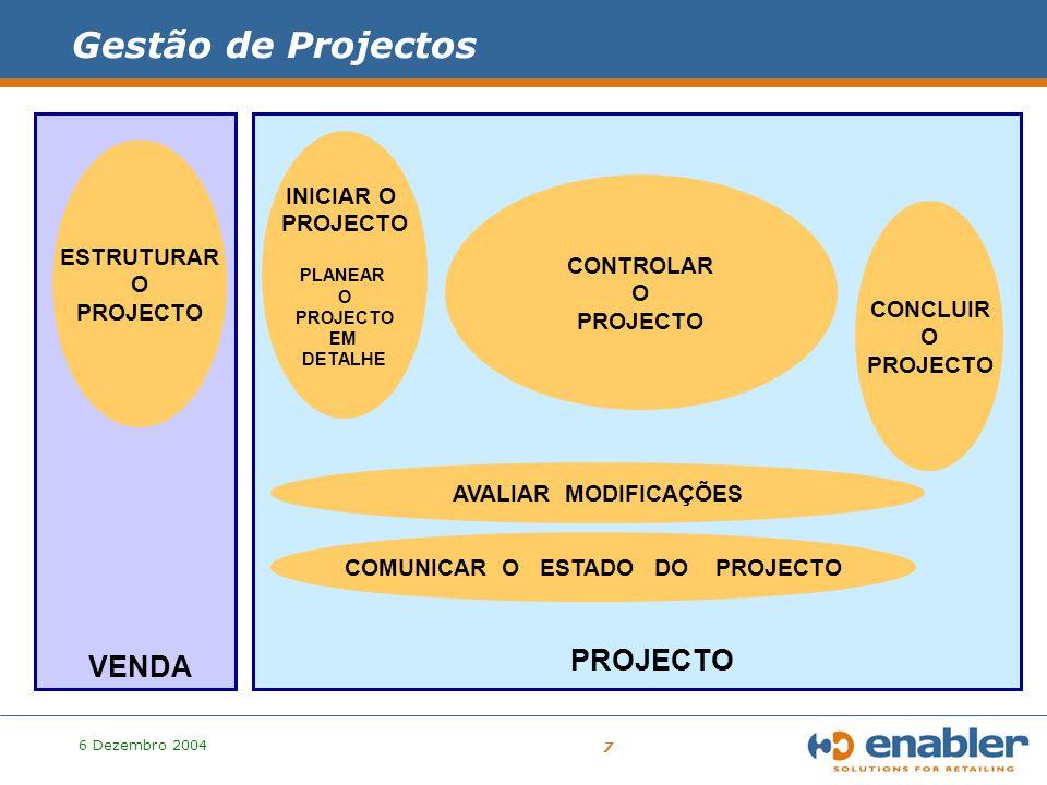 6 Dezembro 2004 8 PROJECTO ESTRUTURAR O PROJECTO Output do Processo de Venda para o Processo de Gestão de Projectos Outputs : * Objectivos de Negócio vs Objectivos do Projecto * Âmbito do Projecto * Método ( Faseamento e Produtos Resultantes ) * Quantificação de Esforço (H*D) * Organização do Projecto e Mecanismos de Controlo * Calendarização * Orçamentação global * Factores de risco vs Estratégias e Acções de Contingência * Metodologia proposta ao cliente Gestão de Projectos – a fase anterior (Venda)