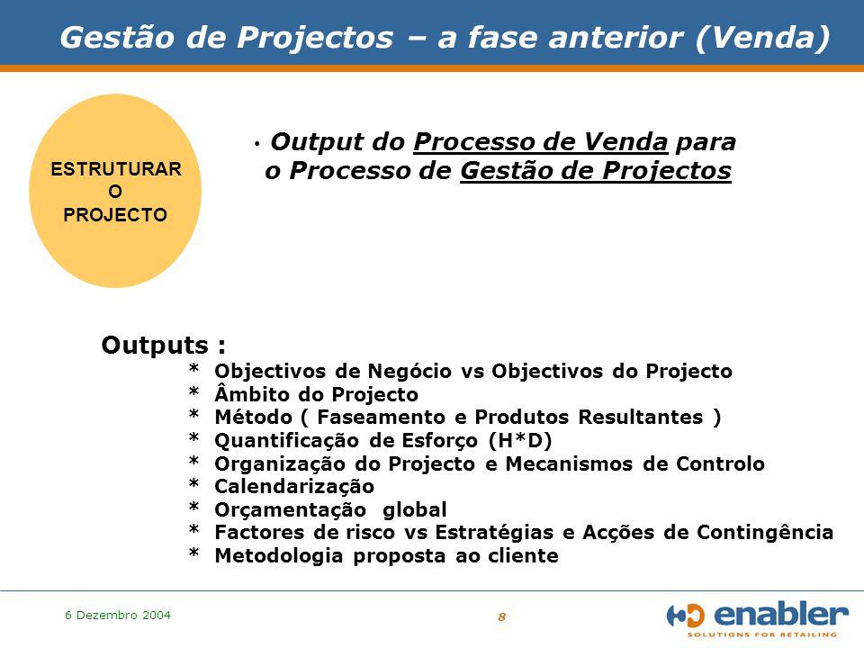6 Dezembro 2004 9 Gestão de: o Cliente, o Contrato, o Projecto, o Projecto, a Mudança, a Qualidade ….