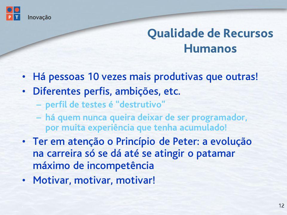 """12 Qualidade de Recursos Humanos Há pessoas 10 vezes mais produtivas que outras! Diferentes perfis, ambições, etc. – perfil de testes é """"destrutivo"""" –"""