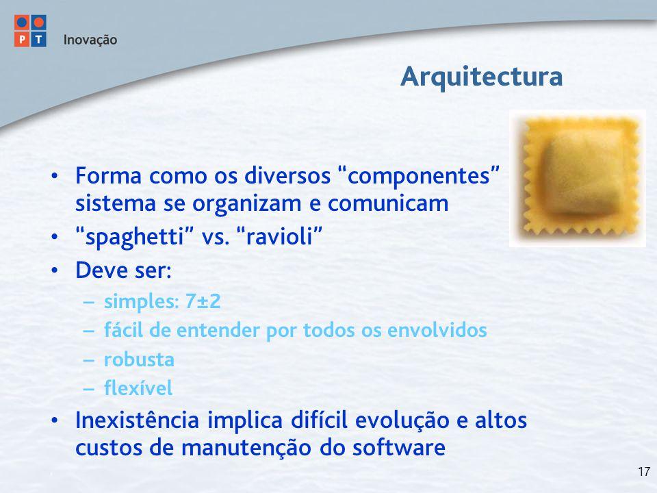 """17 Arquitectura Forma como os diversos """"componentes"""" do sistema se organizam e comunicam """"spaghetti"""" vs. """"ravioli"""" Deve ser: – simples: 7±2 – fácil de"""