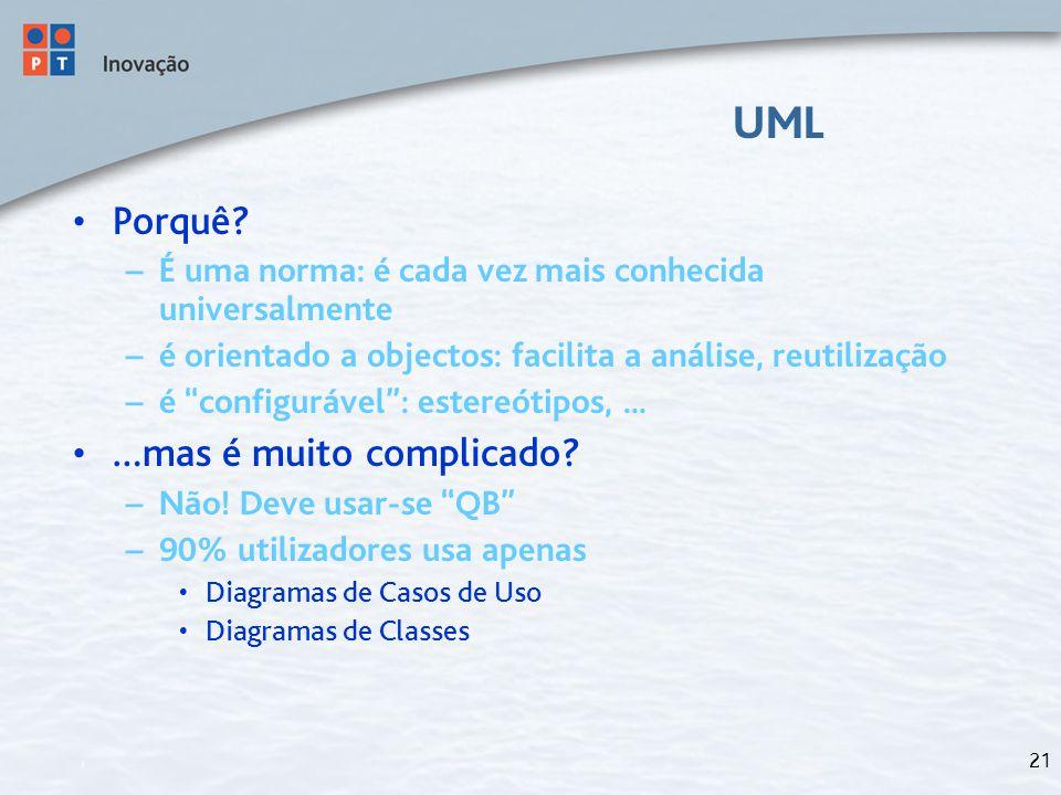 """21 UML Porquê? – É uma norma: é cada vez mais conhecida universalmente – é orientado a objectos: facilita a análise, reutilização – é """"configurável"""":"""