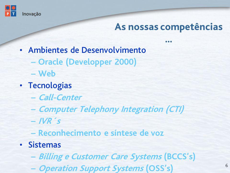 6 As nossas competências... Ambientes de Desenvolvimento – Oracle (Developper 2000) – Web Tecnologias – Call-Center – Computer Telephony Integration (