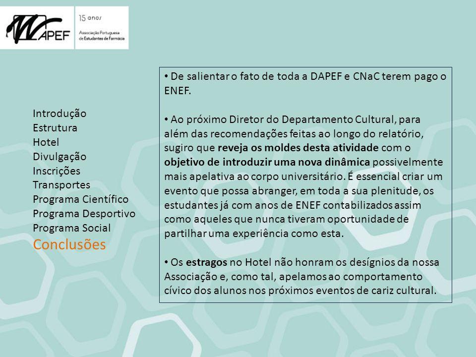 Introdução Estrutura Hotel Divulgação Inscrições Transportes Programa Científico Programa Desportivo Programa Social Conclusões De salientar o fato de toda a DAPEF e CNaC terem pago o ENEF.