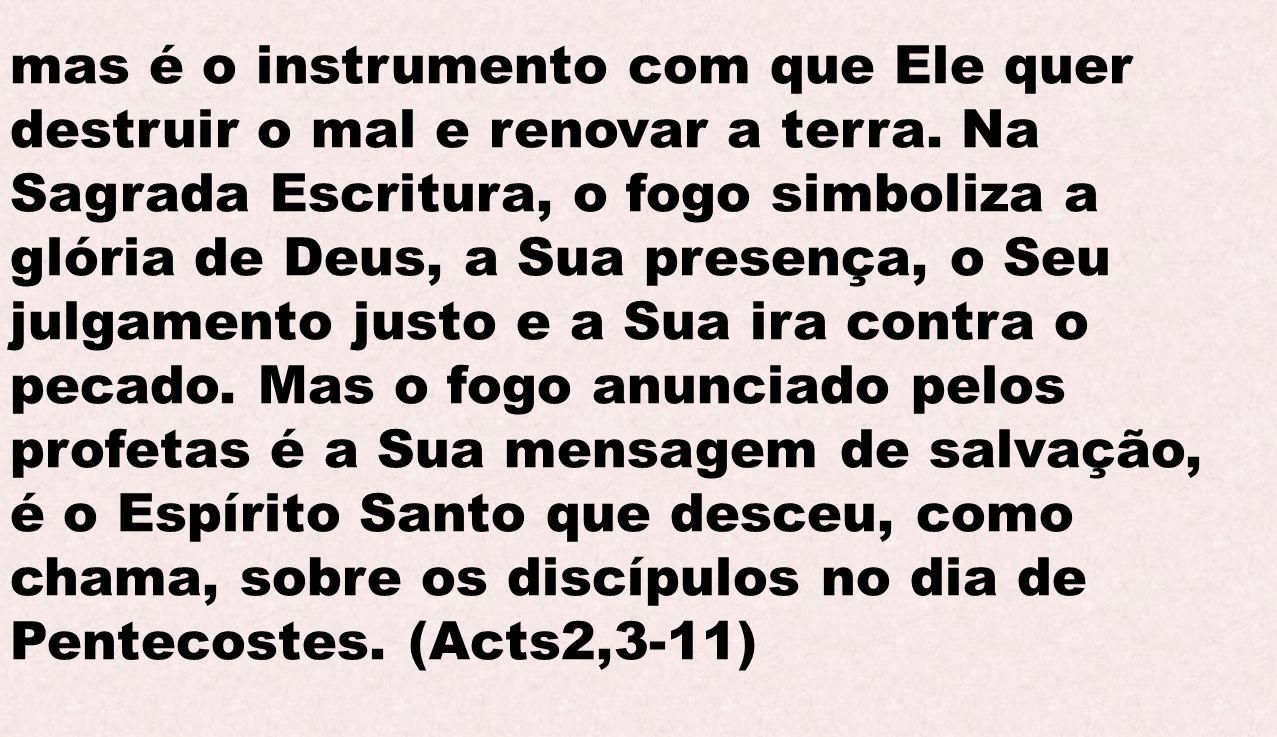 mas é o instrumento com que Ele quer destruir o mal e renovar a terra. Na Sagrada Escritura, o fogo simboliza a glória de Deus, a Sua presença, o Seu