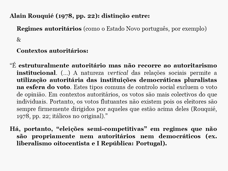 """Alain Rouquié (1978, pp. 22): distinção entre: Regimes autoritários (como o Estado Novo português, por exemplo) & Contextos autoritários: """"É estrutura"""