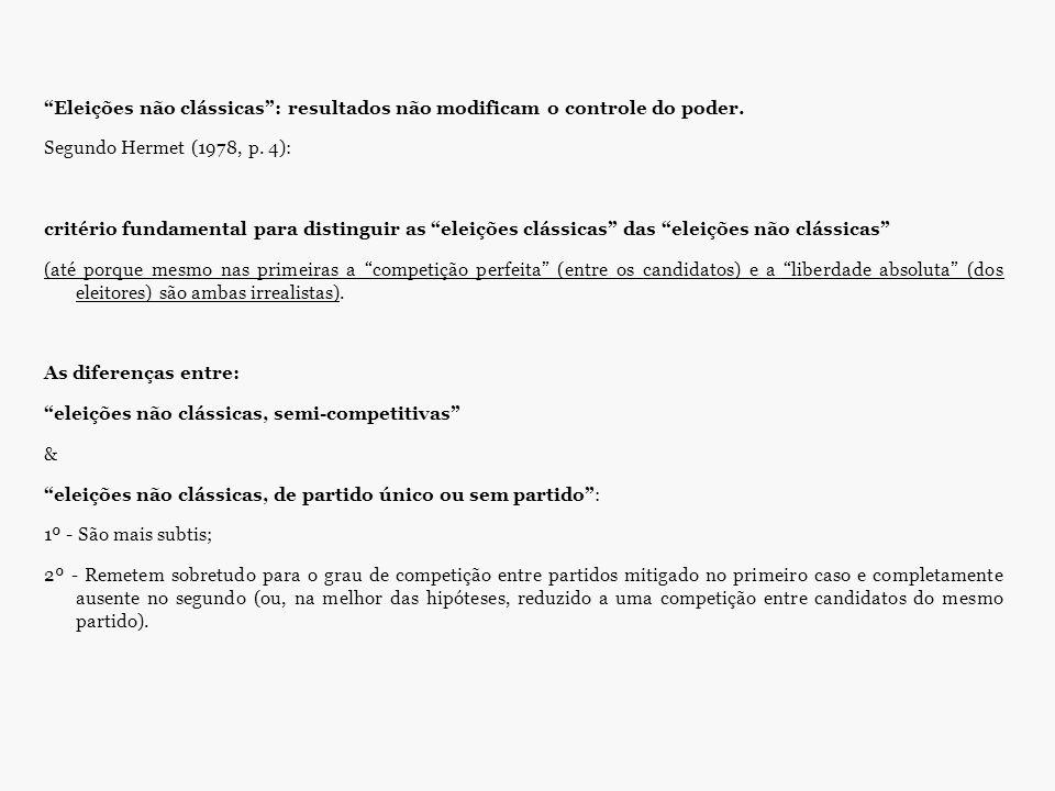 """""""Eleições não clássicas"""": resultados não modificam o controle do poder. Segundo Hermet (1978, p. 4): critério fundamental para distinguir as """"eleições"""