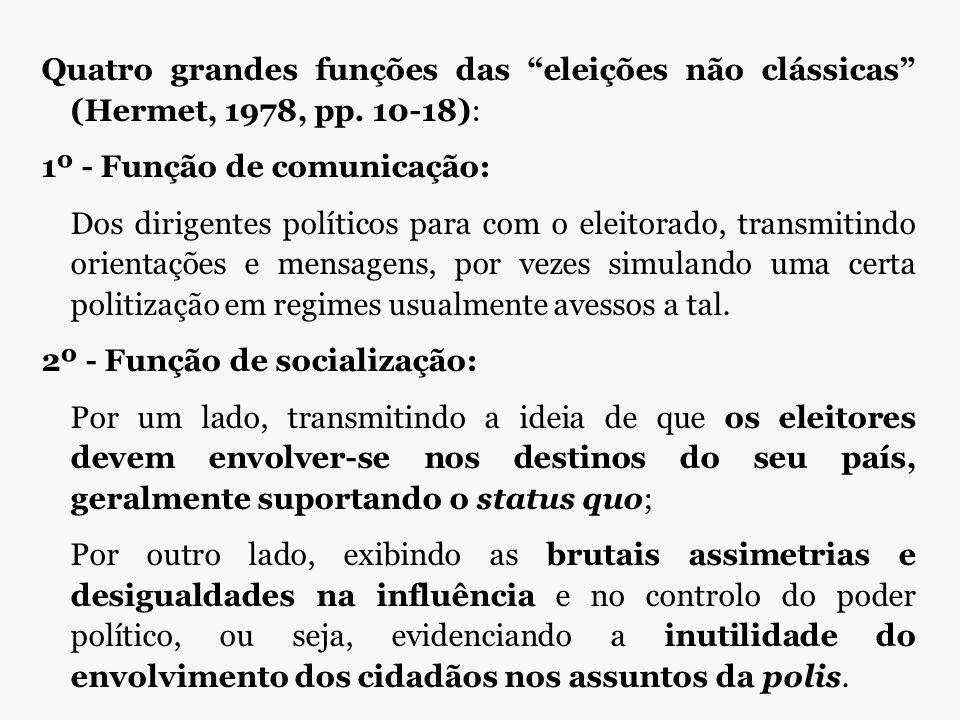 """Quatro grandes funções das """"eleições não clássicas"""" (Hermet, 1978, pp. 10-18): 1º - Função de comunicação: Dos dirigentes políticos para com o eleitor"""