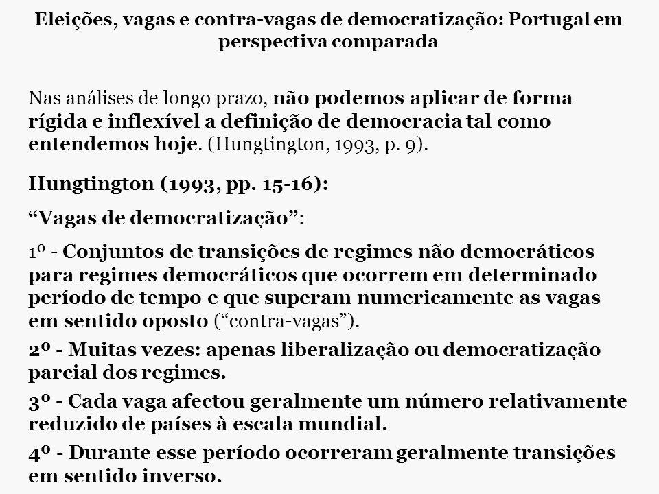 Eleições, vagas e contra-vagas de democratização: Portugal em perspectiva comparada Nas análises de longo prazo, não podemos aplicar de forma rígida e