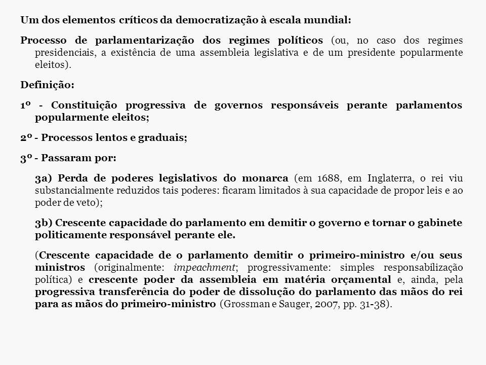 Um dos elementos críticos da democratização à escala mundial: Processo de parlamentarização dos regimes políticos (ou, no caso dos regimes presidencia