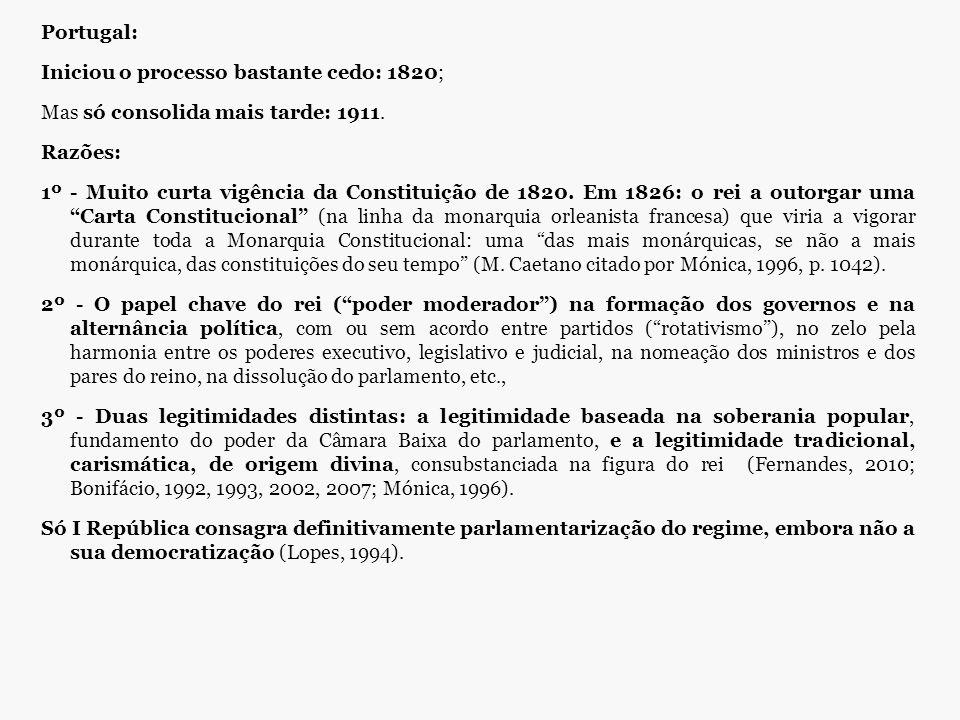 Portugal: Iniciou o processo bastante cedo: 1820; Mas só consolida mais tarde: 1911. Razões: 1º - Muito curta vigência da Constituição de 1820. Em 182