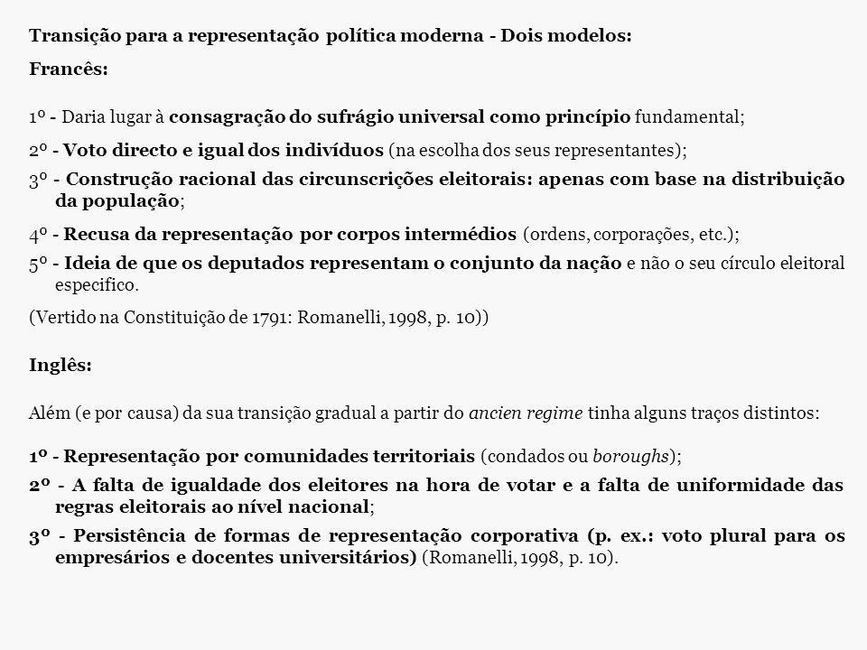 Transição para a representação política moderna - Dois modelos: Francês: 1º - Daria lugar à consagração do sufrágio universal como princípio fundament