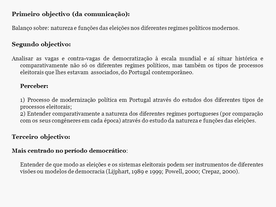 Primeiro objectivo (da comunicação): Balanço sobre: natureza e funções das eleições nos diferentes regimes políticos modernos. Segundo objectivo: Anal