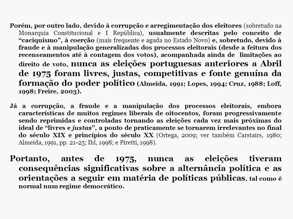 Porém, por outro lado, devido à corrupção e arregimentação dos eleitores (sobretudo na Monarquia Constitucional e I República), usualmente descritas p