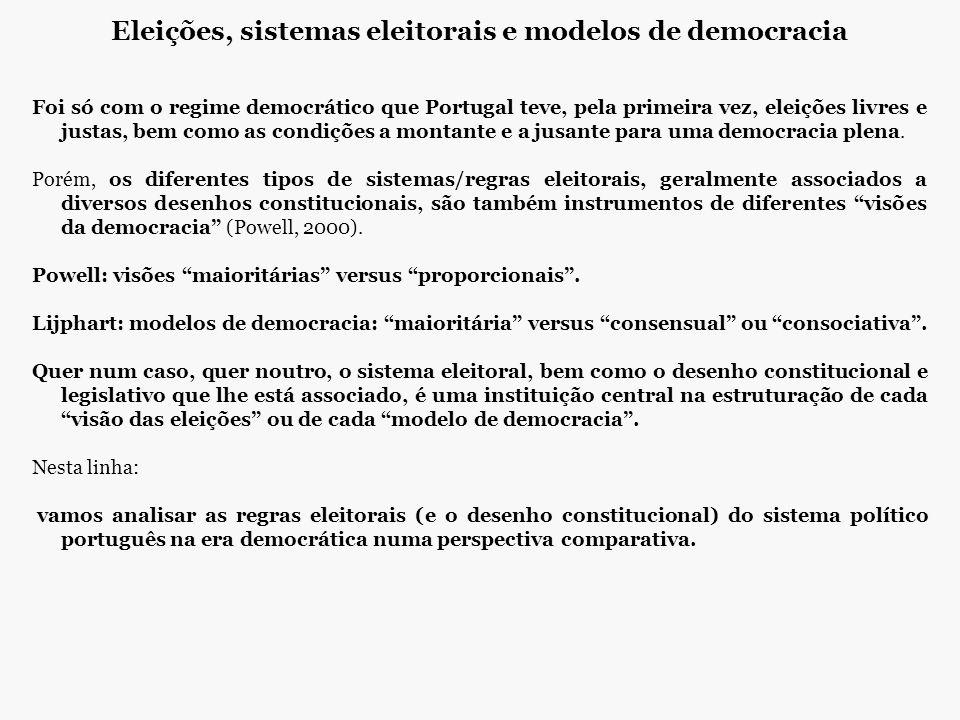 Eleições, sistemas eleitorais e modelos de democracia Foi só com o regime democrático que Portugal teve, pela primeira vez, eleições livres e justas,