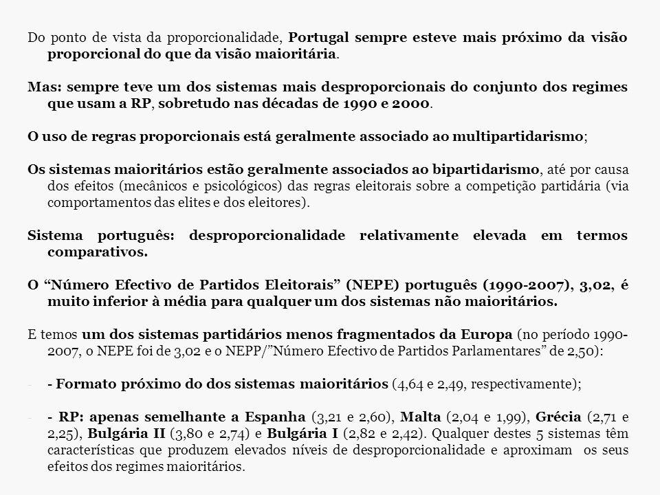 Do ponto de vista da proporcionalidade, Portugal sempre esteve mais próximo da visão proporcional do que da visão maioritária. Mas: sempre teve um dos