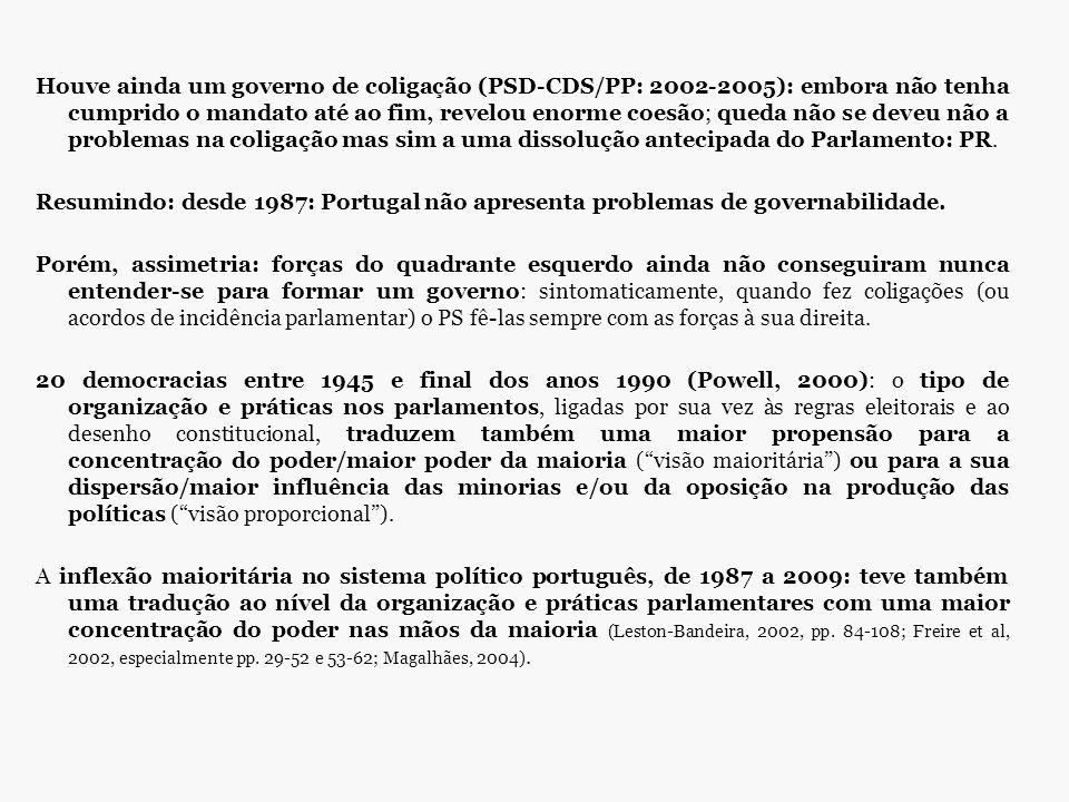 Houve ainda um governo de coligação (PSD-CDS/PP: 2002-2005): embora não tenha cumprido o mandato até ao fim, revelou enorme coesão; queda não se deveu