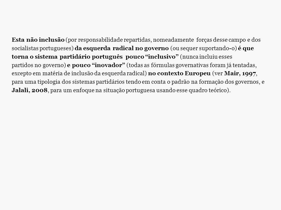 Esta não inclusão (por responsabilidade repartidas, nomeadamente forças desse campo e dos socialistas portugueses) da esquerda radical no governo (ou