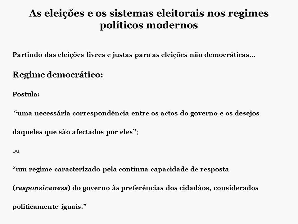 As eleições e os sistemas eleitorais nos regimes políticos modernos Partindo das eleições livres e justas para as eleições não democráticas… Regime de