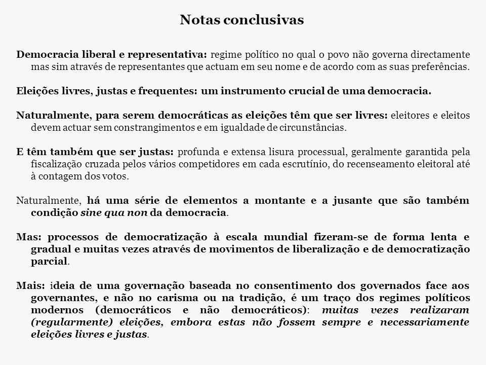 Notas conclusivas Democracia liberal e representativa: regime político no qual o povo não governa directamente mas sim através de representantes que a