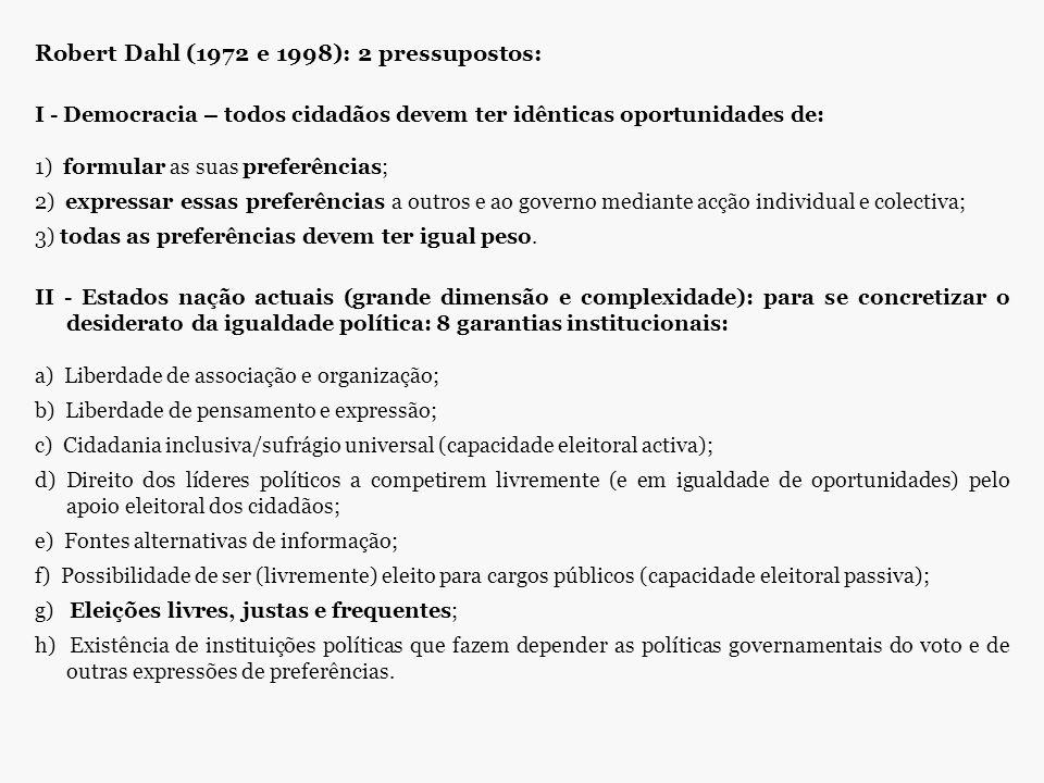 Robert Dahl (1972 e 1998): 2 pressupostos: I - Democracia – todos cidadãos devem ter idênticas oportunidades de: 1) formular as suas preferências; 2)