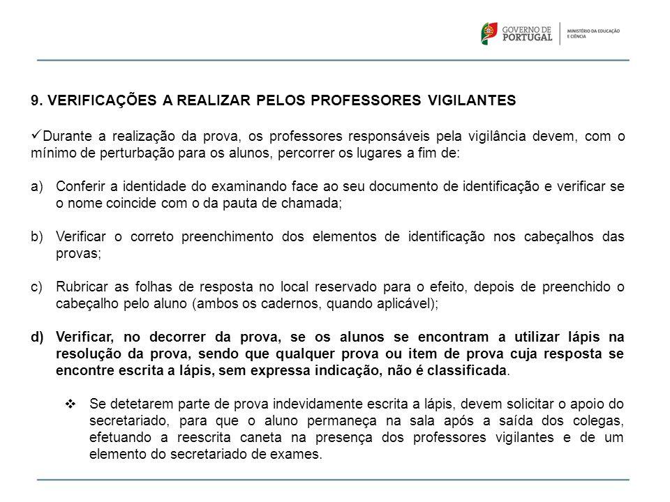 9. VERIFICAÇÕES A REALIZAR PELOS PROFESSORES VIGILANTES Durante a realização da prova, os professores responsáveis pela vigilância devem, com o mínimo