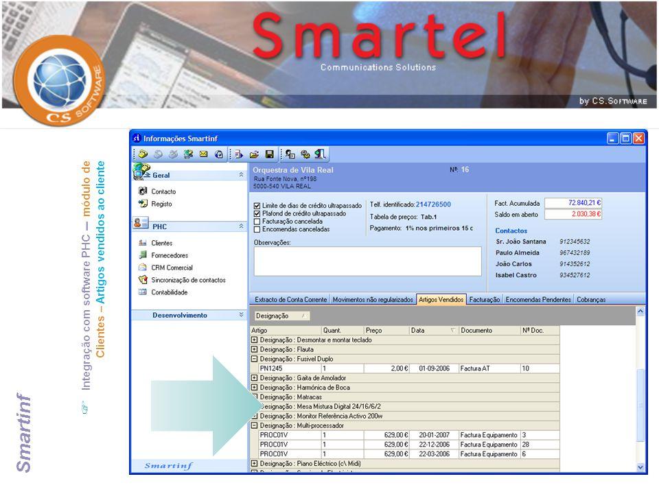  Integração com software PHC – módulo de Clientes – Artigos vendidos ao cliente Smartinf